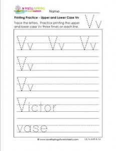 printing practice - upper and lower case Vv - handwriting practice for kindergarten