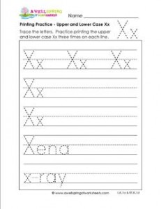 printing practice - upper and lower case Xx - handwriting practice for kindergarten