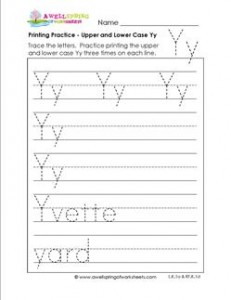 printing practice - upper and lower case Yy - handwriting practice for kindergarten