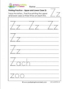 printing practice - upper and lower case Zz - handwriting practice for kindergarten