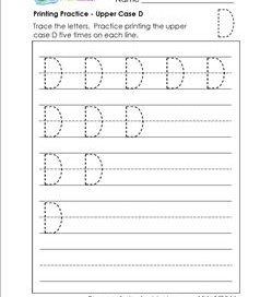 printing practice - upper case d - handwriting practice for kindergarten