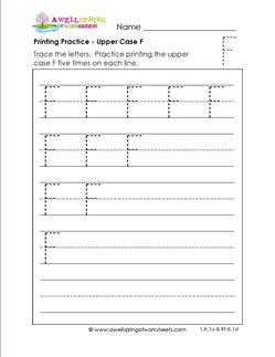printing practice - upper case f - handwriting practice for kindergarten