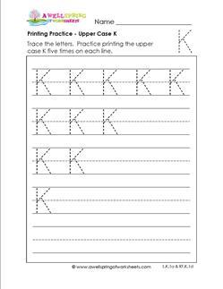 printing practice - upper case K - handwriting practice for kindergarten