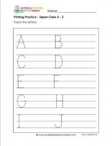 printing practice - upper case letters a-z - multi-page - handwriting practice for kindergarten