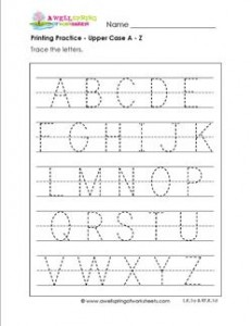 printing practice - upper case letters a-z - handwriting practice for kindergarten