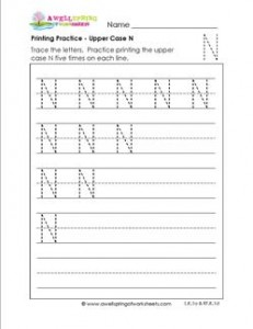 printing practice - upper case N - handwriting practice for kindergarten