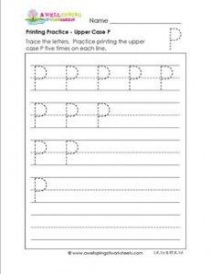 printing practice - upper case p - handwriting practice for kindergarten