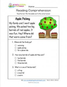 Reading for Kindergarten - Apple Picking. Three multiple choice questions.