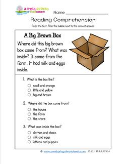Reading for Kindergarten - A Big Brown Box. Three multiple choice questions.
