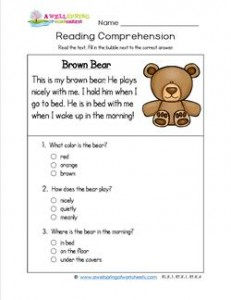 Reading for Kindergarten - Brown Bear. A reading comprehension page with three multiple choice questions.