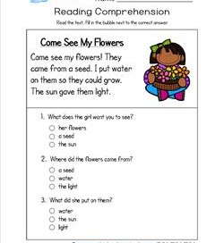 Worksheets Questions For Kindergarten reading for kindergarten with comprehension questions come see my flowers a worksheet three multiple