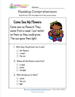 Reading for Kindergarten - Come See My Flowers. A reading comprehension worksheet with three multiple choice questions.