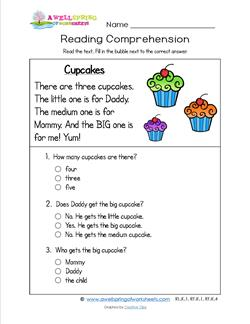 Reading for Kindergarten - Cupcakes. Reading comprehension worksheets with three multiple choice questions.