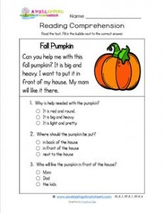 math worksheet : reading for kindergarten  fall pumpkin  a wellspring : Multiple Choice Reading Comprehension Worksheets