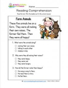 Reading for Kindergarten - Farm Animals. Reading comprehension worksheets with three multiple choice questions.