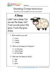 Reading for Kindergarten - A Sheep. Reading comprehension worksheets with three multiple choice questions.