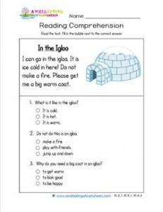 Reading for Kindergarten - In the Igloo. Reading comprehension worksheets with three multiple choice questions.