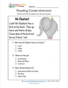 Reading for Kindergarten - Mr. Elephant. Reading comprehension worksheets with three multiple choice questions.