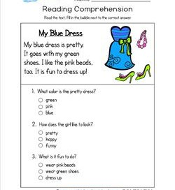 Reading for Kindergarten - My Blue Dress. Reading comprehension worksheets with three multiple choice questions.