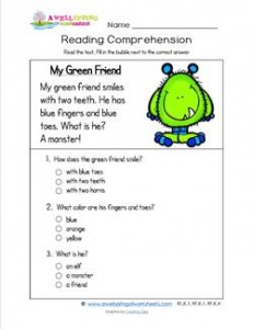 Reading for Kindergarten - My Green Friend. Reading comprehension worksheets with three multiple choice questions.