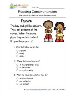 Reading for Kindergarten - Popcorn. Reading comprehension worksheets with three multiple choice questions.