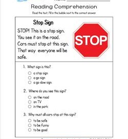 Reading for Kindergarten - Stop Sign. Reading comprehension worksheets with three multiple choice questions.