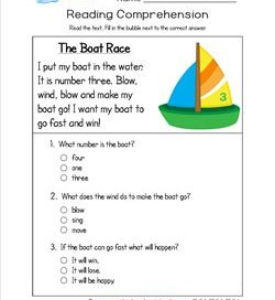 Reading for Kindergarten - The Boat Race. Reading comprehension worksheets with three multiple choice questions.