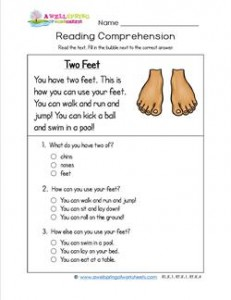 Reading for Kindergarten - Two Feet. Reading comprehension worksheets with three multiple choice questions.