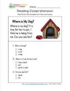 Reading for Kindergarten - Where's My Dog. Reading comprehension worksheets with three multiple choice questions.