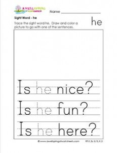 Sight Word he - Sight Word Practice Worksheets for Kinder