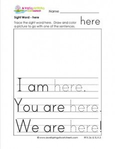 sight word here