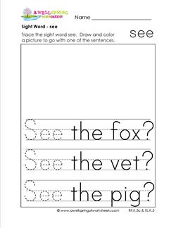 Sight Word see - Sight Word Practice Worksheets for Kinder