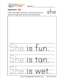 sight word she