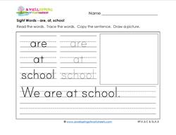 sight words worksheet - are at school