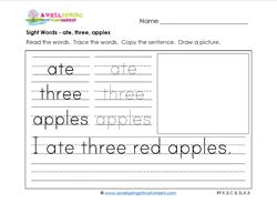 sight words worksheet - ate three apples