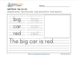 sight words worksheet - big car red