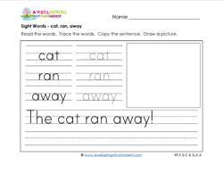 sight words worksheet - cat ran away