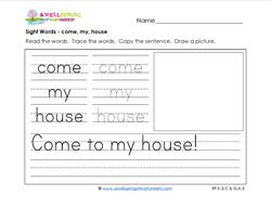 sight words worksheet - come my house