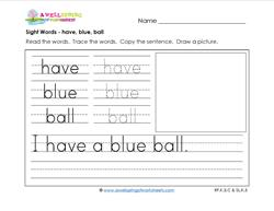 sight words worksheet - have blue ball