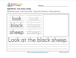 sight words worksheet - look black sheep