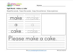sight words worksheet - make a cake