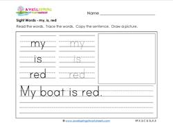 sight words worksheet - my is red