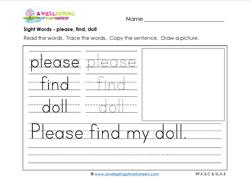 sight words worksheet - please find doll