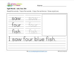 sight words worksheet - saw four fish