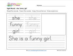 sight words worksheet - she funny girl