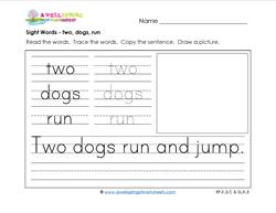 sight words worksheet - two dogs run