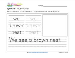 sight words worksheet - we brown nest
