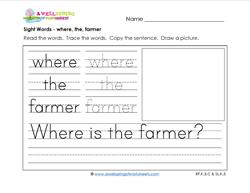 sight words worksheet - where the farmer