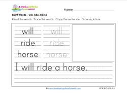 sight words worksheet - sill ride horse