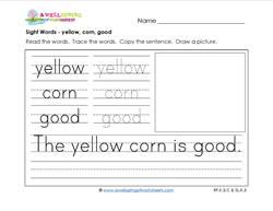 sight words worksheet - yellow corn good